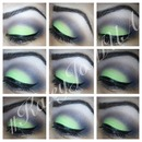 Lime green smokey eye