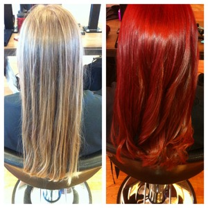Before & After, started with a dirty blonde and turned out vibrant red❤️😍