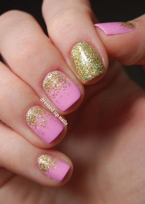 Both colors are Floss Gloss, the pink is Perf and the gold glitter is Stun. I'm in love with these polishes.  http://www.dressedupnails.com/2013/01/early-valentines-day-heart-nail-art.html