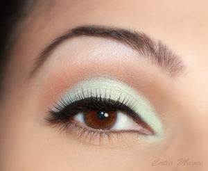 Wearing Pure Fusion mineral eyeshadows in  White velvet for brow highlight  french cafe on the crease  Syn on the lid