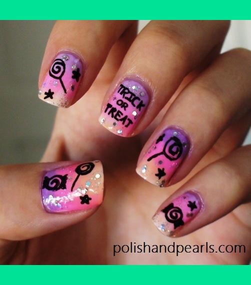 Cute Purple Halloween Nails