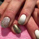 Silver, Glitter, Gradient nails