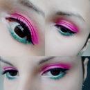 Pink and green make up
