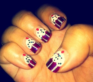 Cute cupcake nails are easy to do!