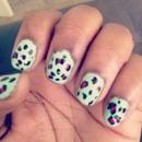 mint/pink leopard nails