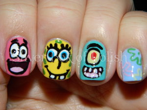 Nail art inspired by the cartoon Spongebob Squarepants. Featured designs; Patrick Star, Spongebob Squarepants, and Sheldon J. Plankton.