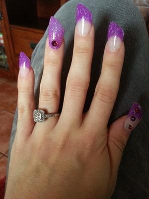 neon purple glitter mix new lipstick acrylic nails