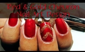 Red & Gold Glitter Chevron Nail Art Design