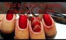Red & Gold Glitter Chevron Nail Art Design