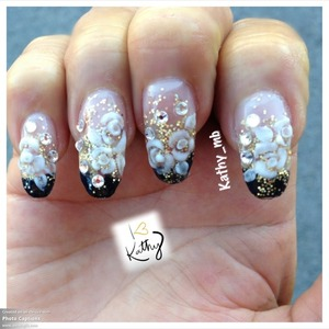 Encapsulated nails color black and Joel's with 3d white roses