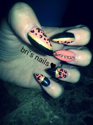 polished design over acrylic nails