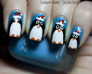 Festive Holiday Penguins!  http://samariums-swatches.blogspot.com/2011/12/festive-penguins-in-santa-hats.html