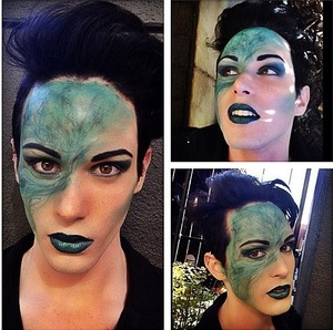 Water inspired makeup I did on my friend Connor. www.sarahblissmakeup.com