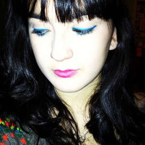 Urban Decay's Flipside with a bright pink lipstain/lipstick.