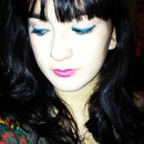 Bold eyeliner and lip color.