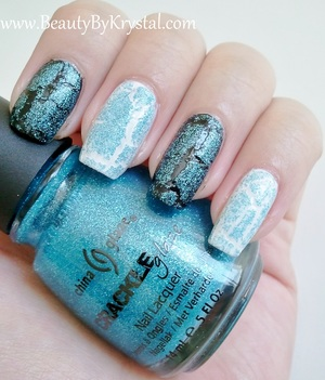 China Glaze Crackle Glitters - Gleam Me Up ELF Black ELF White