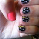 skull and crossbones nail wraps and hot pink thumbs