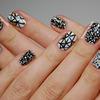 Black, white and gold geometric nails