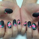 Matte acrylics with hand painted flowers