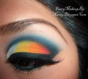 Wearing all MAC Eyeshadows in: Electric Eel // Passionate // Orange // Chrome Yellow // Pure White Pigment and Velour Lashes in TDotOhh