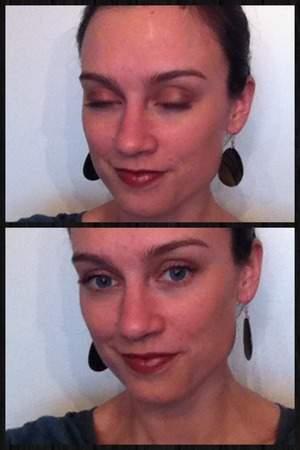 Neutral eyes for daytime lip looks, just enhancing blue eyes. The darker eyeshadow is something I had a long while, which turned out to be fake rimmel.  I use the light pink shade from the Fun pallette as a highligter. Lipstick is Collistar Rosetto Tattoo.