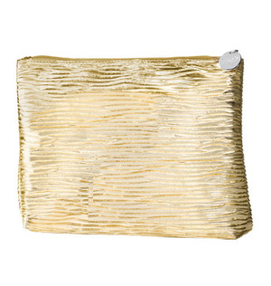 """mark Super Flash Cosmetic Bag It's all in the details  $12.00   Tall enough to fit your fave mark. skincare, hair products and more. The list of uses for this grooved and gilded bag knows no bounds. Faux leather. 11"""" L (at top) x 2"""" W x 8"""" H."""