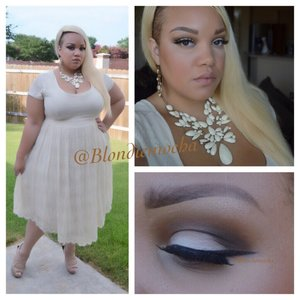 Follow me @Blondiemocha on Instagram for more looks!!  I began by using Urban Decay eyeshadow primer as a base.   Eyes - Outré (MAC, all over eye), Beware (Urban Decay, Limited Edition, in the crease) Espresso (MAC, in the outer crease) Carbon (MAC, in the outer crease) Broken (Urban Decay, Limited Edition, on lid)   Brows - Anastasia Beverly Hill Brow Wiz in Soft Brown.   Lashes - Marilyn Lashes by @lasplashcosmetics   Lipstick - Wet N Wild Bare it All (902C)   Clothing -  Outfit is from Torridfashion   Jewelry - Necklace is from Macys  Earrings Forever 21