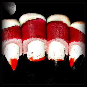#nailartoct -Monster and Blood. http://www.thepolishedmommy.com/2013/10/dracunail.html