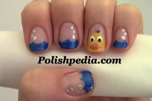 Inspired by good old Ernie from Sesame Street!  Watch My Video Tutorial @ http://polishpedia.com/rubber-ducky-nail-art.html