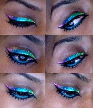 Created my own gradient glitter liner using a combination of MAC, NYX & Sally Girl glitters with MAC Eyeliner mixing medium. x  (full face look to follow)