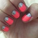 Silver Half-Moon Pink Summer Nails!