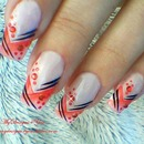 Abstract red nail art design.