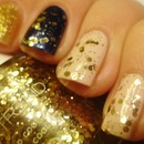 Blue, gold and nude