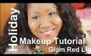 Easy 2013 Holiday Makeup Tutorial - Glam Gold Eyes and Bold Red Lips