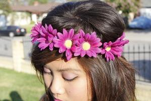 Purple Daisy Elastic Headband