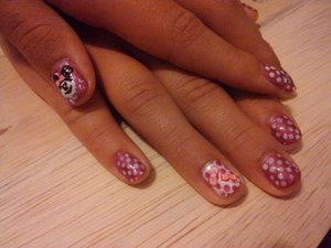 minnie mouse nails on my daughter