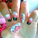 White,Pink And Black Ombre With 2 Cute Flowers ^_^