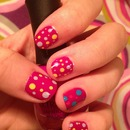 Easy Pink Polka Dot Nails!