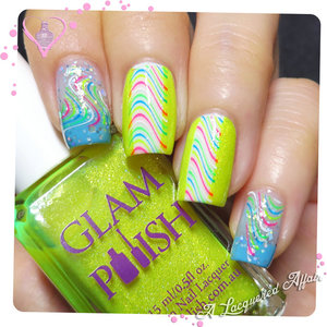 Neon swirls nail stamps/ water decal #14402 from http://www.BornPrettyStore.com over Catrice Mermaiday May, OPI Can't Find My Czechbook, My Boyfriend Scales Walls and Glam Polish We Go Together.  More details on http://www.alacqueredaffair.com/Born-Pretty-Store-Nail-Accessories-Part-III-36189921  Get 10% off BornPrettyStore.com with code QFX31
