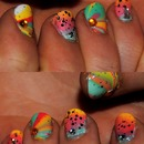 Summer Ombre Watermarbling Nails