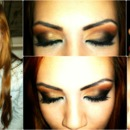 Smokey eyes mixed with orange & brown