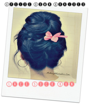 http://www.makeupwearables.com/2013/01/upside-down-braided-sock-bun-hairstyles.html Learn how to do a romantic, cute, and messy, upside down braided sock bun  on your own hair,  for short, medium, and long hair.  Unique double lace braids! http://www.makeupwearables.com/2013/01/upside-down-braided-sock-bun-hairstyles.html  Find me on YouTube - http://www.youtube.com/user/MakeupWearables