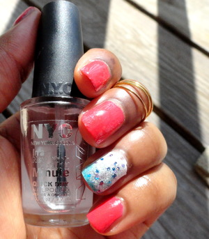 Just some fun nail art to celebrate the Fourth of July, tutorial at:http://msberrystylish.blogspot.com/2013/06/fourth-of-july-look-glitter-ombre-nails.html