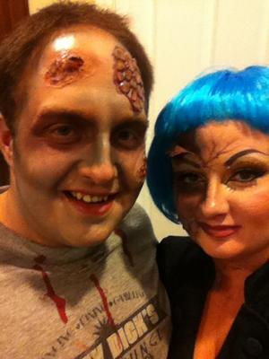 scott zombie he rubbed all the makeup off his nose   ha ha