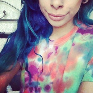 Turquoise blue and purple hair !<3
