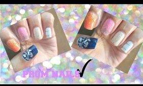 DIY 5 Easy Prom Nail Art (Glitter Nail Art)