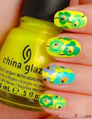 China Glaze Sun-Kissed goes Marimekko http://brilliantnail.se/china-glaze-sun-kissed-goes-marimekko