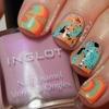 Inglot Spring Pastels Watermarble Nail Art