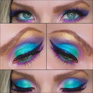 A colorful exotic look created using the eyeshadow from Urban Decay's Deluxe Palette. You can find the picture tutorial and complete product list in my blog.  http://mariabergmark.wordpress.com