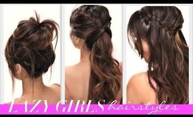 ★4 EASY Lazy Girl's BACK-TO-SCHOOL HAIRSTYLES | CUTE BRAIDS + MESSY BUN HAIRSTYLE